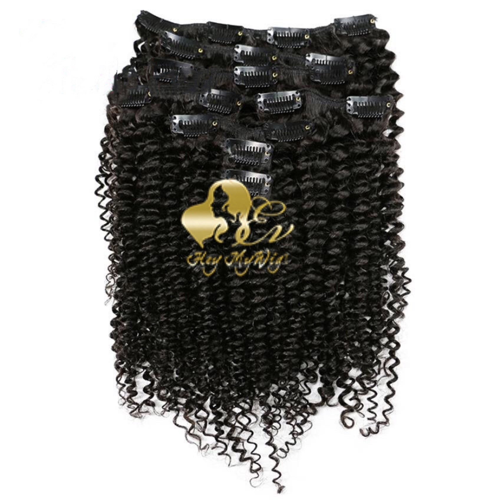 Clip in human hair extension 4A 4B Afro kinky curly texture hair - heymywig.com