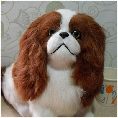 FHUILI Simulation Dog Model Toy - Cute Realistic Plush Simulation Animal Model - Lifelike Puppy Pet Jingba Dog Ornaments Comfortable Handcraft - for Home Decoration Kids Toy Gift