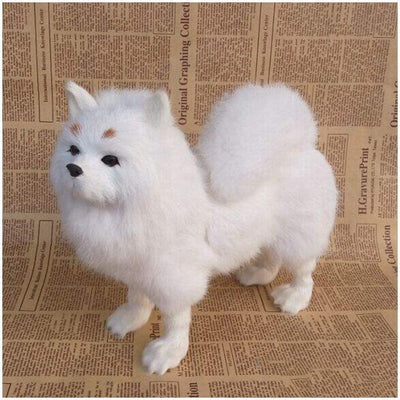 FHUILI Simulation Dog Model Toy - Realistic Simulation Pomeranian Dog Model - Lifelike Pomeranian Dog Comfortable Handcraft - for Kids Birthday Home Decoration