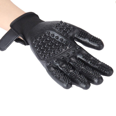 Rubber Grooming Gloves for Dog Hair Cleaning Brush Comb Black - offloaddogsboner