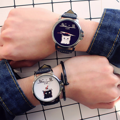 Hot Japan Cat fashion couple watches college style simple casual wristwatch men women student leather quartz watch relogio gift