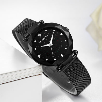 CUENA Classic Hot Luxury Women Stainless Steel Analog Quartz Analog Quartz Wristwatches Buckle Wrist Watches For Women
