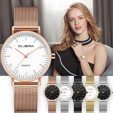 CUENA Women Wrist Watch Fashion Mesh Band Stainless Steel Analog Quartz Bracelet woman watches minimalistic watch female