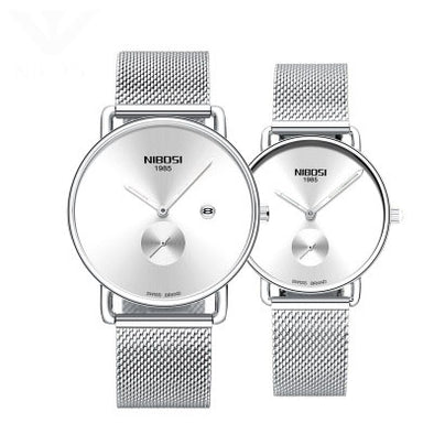 2019new simple couple watch luminous waterproof quartz watch stainless steel mesh with ultra-thin student watch trending product