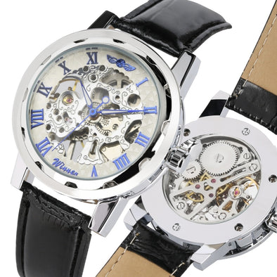 Mens Watch Top Brand Luxury Mechanical Watch Casual Leather Band Hand Wind Steampunk Skeleton Clock Male Business lobinni