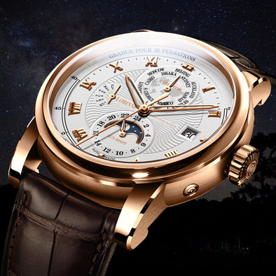 LOBINNI Luxury Brand Automatic Mechanical Watches Man Leather 50m Waterproof Mens Skeleton Watch Rose Gold Sapphire Montre Homme