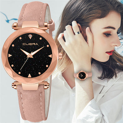 CUENA Womens Watches Top Brand Fashion Leather Band Analog Quartz Diamond Wrist Watch Relogio Feminino Uhren Damen