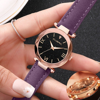 Fashion Women 's Leather Band CUENA Sky starry Analog Quartz Diamond Wrist Watch Watches 2019 Fashion Relogio Feminino