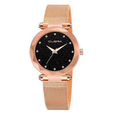 CUENA Brand Fashion Women Rose Gold Starry Sky Watch Luxury Ladies Stainless Steel Mesh Quartz Wrist Watch Relogio Feminino