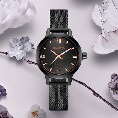 CUENA Simple Dress Clock Fashion Casual Quartz Wrist Watch for Lady Mesh Steel Daily life Waterproof Relogio Feminino