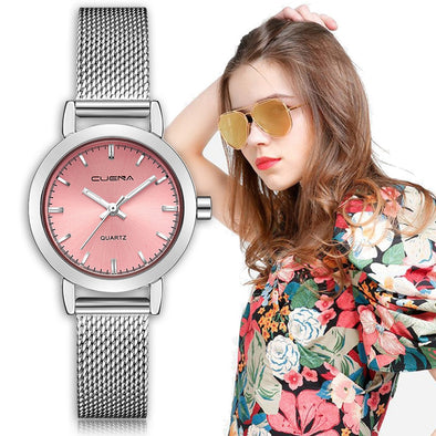 CUENA Women Dress Watches Quartz Stainless Steel Mesh Band Casual Bracele Ladies watch woman watches small dial reloj mujer