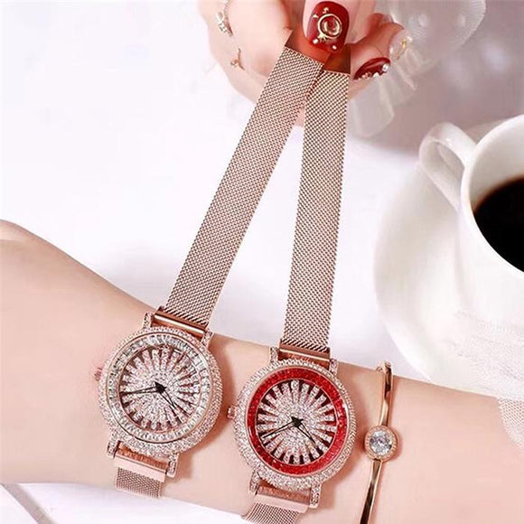 Fashion Women Quartz Watch Casual Full Rhinestone Pin Buckle No Round Womens Decoration Wristwatch Needle