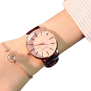 New Women Fashion Artificial Leather Band Round Analog Quartz Wrist Watch Bracelet Complete Schedule Bangle