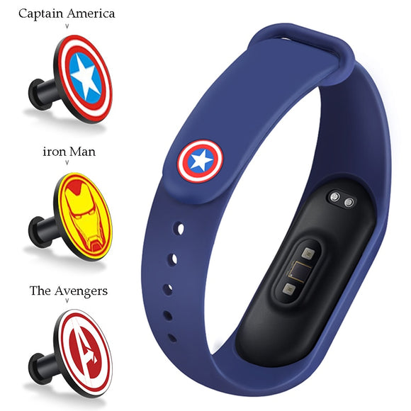 For Xiaomi Mi Band 4 3 Strap Metal buckle silicone wrist strap miband 3 accessories bracelet Miband 4 watchband Avengers Pattern