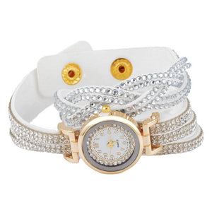 "Doreen Box Velvet Wrap Bracelet Quartz Wrist Watches Braided Clear Rhinestone Battery Included 39cm(15 3/8"") long, 1 Piece"