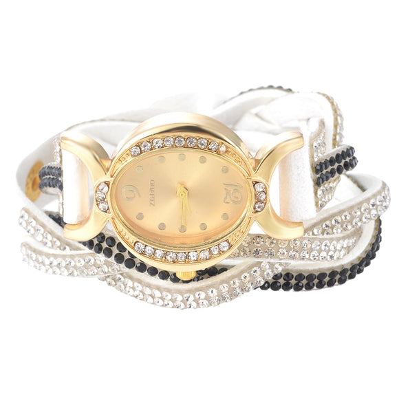 Doreen Box Velvet Wrap Bracelet Quartz Wrist Watches Braided White Clear Rhinestone Battery Included 39cm(15 3/8