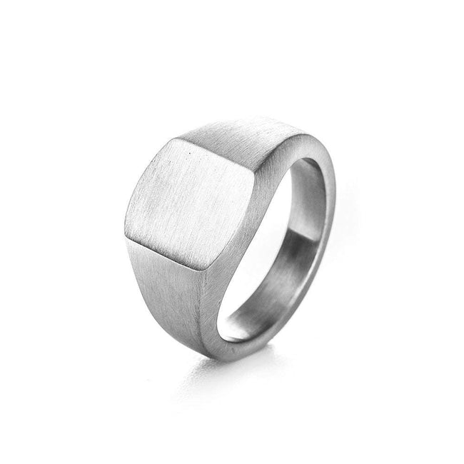 Brushed Stainless Steel Engravable Cushion Signet Ring