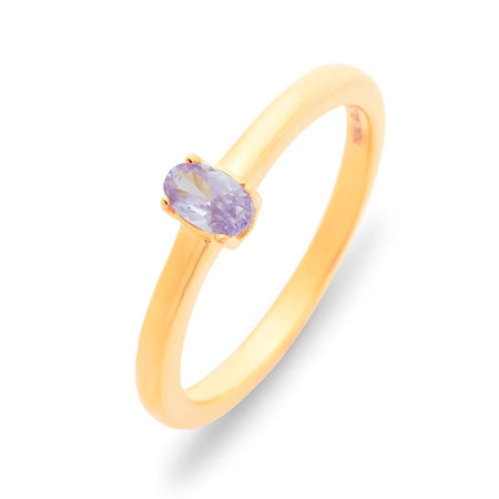 Petite Oval 1 Stone Gold Birthstone Ring
