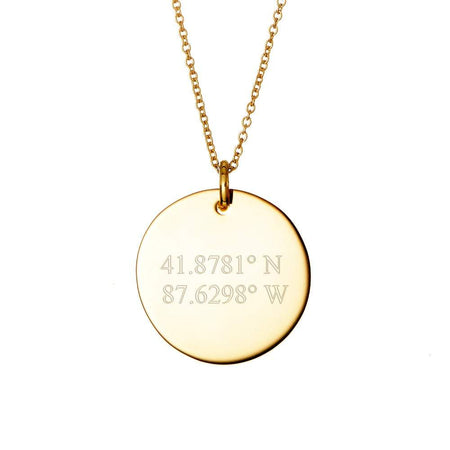 display slide 1 of 4 - Engravable Coordinate Gold Round Charm Necklace - selected slide