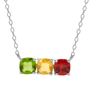 3 Stone Silver Cushion Cut Birthstone Necklace