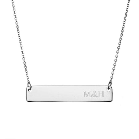 Engravable Couples Initials Sterling Silver Bar Necklace