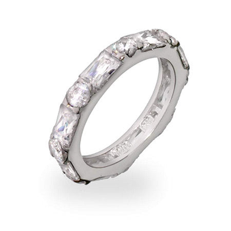 Brilliant and Emerald Cut CZ Stackable Eternity Band