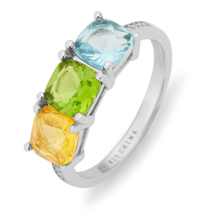 Sterling Silver Pave Set 3 Stone Cushion Cut Birthstone Ring