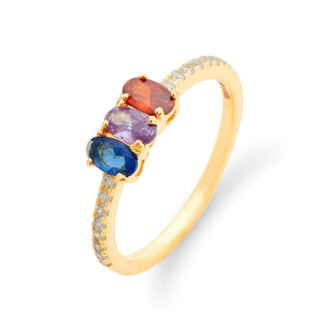 Personalized 3 Stone Split Gold Plated Birthstone Ring