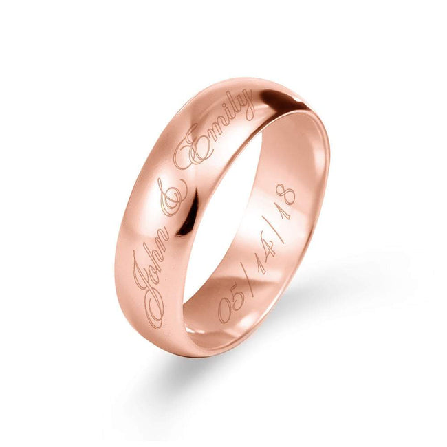 6mm Custom Made Rose Gold Message Ring   Eves Addiction