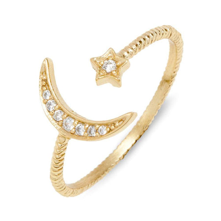 Moon And Star Ring Silver Gold-Plated   Crescent Moon Ring