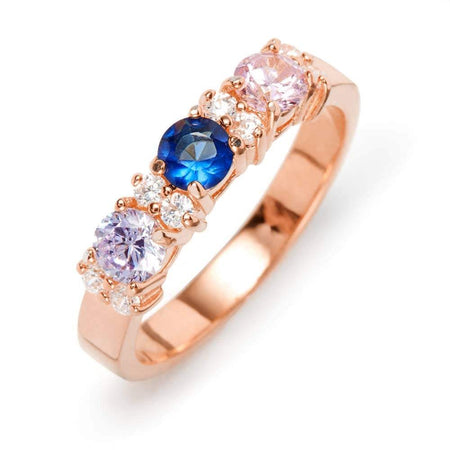 3-Stone Rose Gold Birthstone Band With Cubic Zirconias