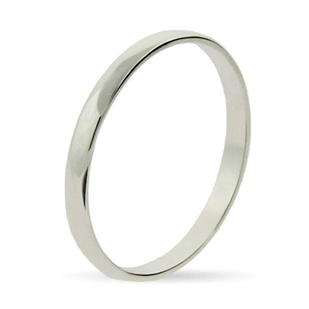 display slide 1 of 1 - Plain Thin Silver Stackable Band - selected slide