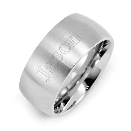 9mm Brushed Stainless Steel Wedding Band - Clearance Final Sale
