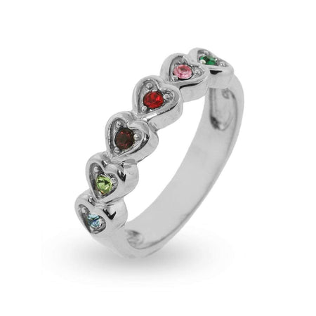 6 Birthstone Band of Hearts Engravable Ring