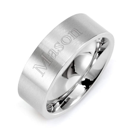Engravable Straight Edged Stainless Steel Wedding Band - Clearance Final Sale