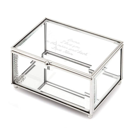 Engravable Clear Glass Personalized Rectangle Jewelry Box
