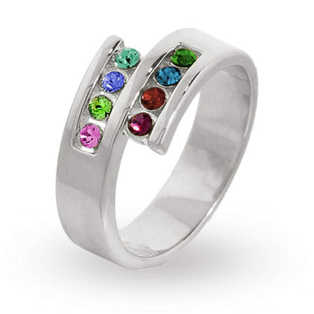 Personalized 8 Stone Silver Split Ring