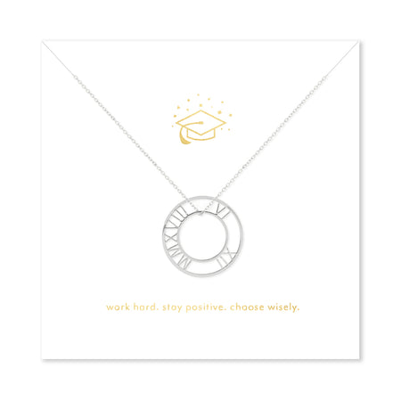 Inspirational Graduation Silver Roman Numeral Circle Pendant