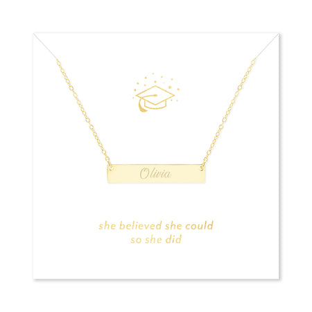 She Believed She Could So She Did Graduation Gold Name Bar Necklace