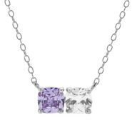 2 Stone Silver Cushion Cut Birthstone Necklace