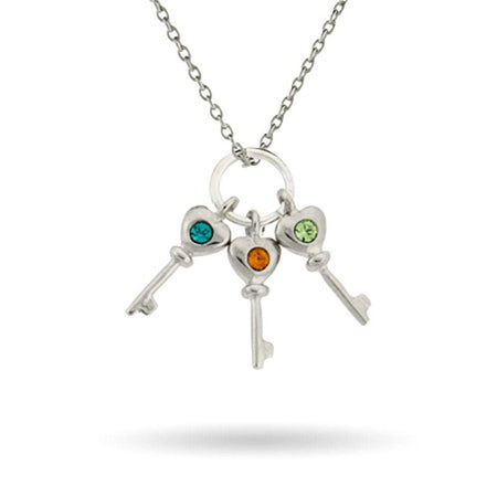 Personalized 3 Birthstone Key Charms Mother's Necklace