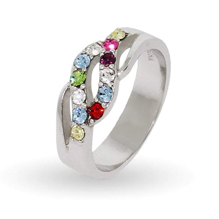12 Stone Silver Waves of Love Family Ring