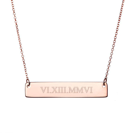 Roman Numeral Date Rose Gold Bar Necklace