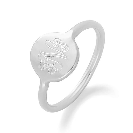 Engravable Monogram Disc Ring in Silver