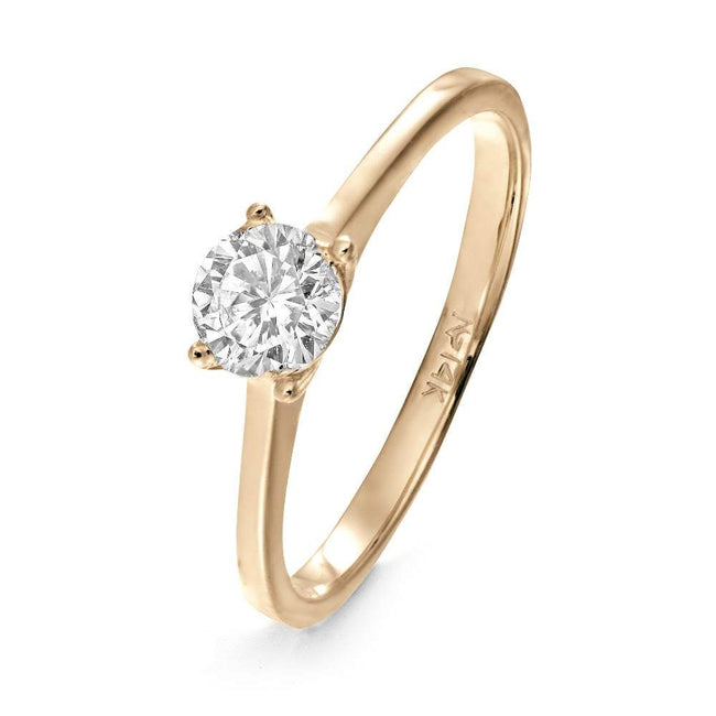 14K Gold Solitaire CZ Engagement Ring