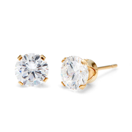 14K Gold Filled Round Diamond CZ 6mm Stud Earrings   Eve's Addiction®