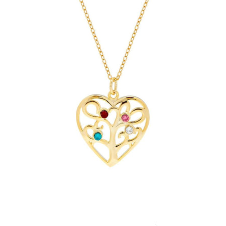 4 Birthstone Heart Family Tree Gold Necklace