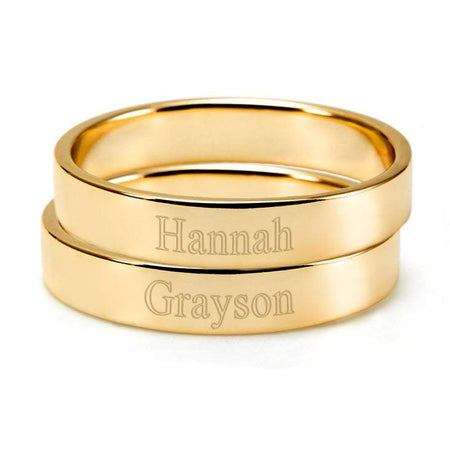 2 Stackable Gold Rings Set   Mom Custom Stackable Rings