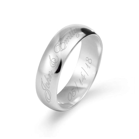 display slide 1 of 3 - Engraved Couples Message Sterling Silver Ring - selected slide