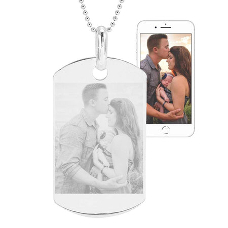 Sterling Silver Photo Dog Tag Necklace